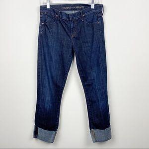 COH CITIZENS OF HUMANITY Dani Cropped Straight Leg Dark Wash Capri Jeans 27